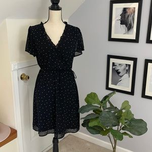 Polka dot faux wrap mini dress